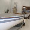 Masking off interior and exterior of boat